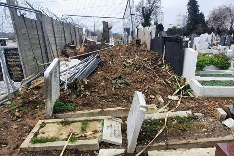 Damaged graves at the Tottenham Park Cemetery